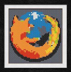 """Gráfico para punto de cruz del """"Firefox Logo""""."""