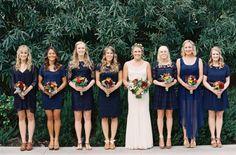 Mismatched Navy Bridesmaids' Dresses