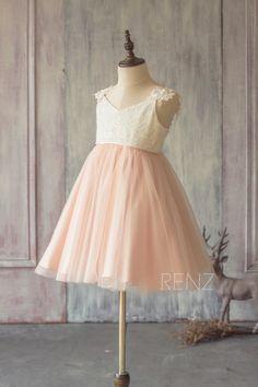 2017 Junior Bridesmaid Dress ShortOff White and Peach Flower