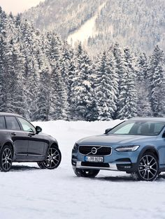 Volvo V90, Cross Country 2017, inverno, station wagon, blu V90, nero V90, auto svedese