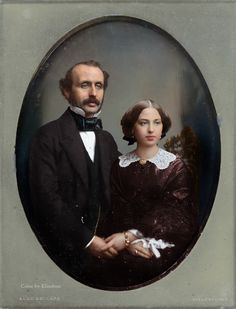 Daguerreotype of Husband & Wife by Alexander Beckers, ca. Vintage Photos Women, Vintage Couples, Vintage Love, Vintage Pictures, Old Pictures, Vintage Images, Old Photos, Victorian Photography, Old Photography