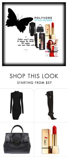 """Outrageous"" by dimeond711 ❤ liked on Polyvore featuring Versace, Yves Saint Laurent, versace, fashionblogger, couture and justfab"