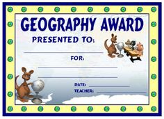 Geography Award:  You can find this printable award (and many other awards and certificates for elementary school teachers) on Unique Teaching Resources.