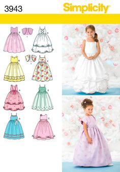 Simplicity : 3943  Flower girl dresses.  Dress F in ivory shantung, replace belt with sash E in plum taffeta, add plum bow to match wedding dress bow with silver rhinestone detailing.