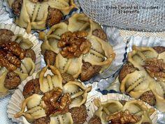 El Korenfla - walnut filled Algerian sweets.