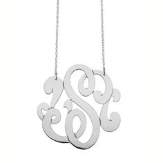 """Medium Swirly Initial Pendant on 16"""" rope chain.  Medium swirly initial pendant is approximately 1 1/8"""".     FOR LETTER AVAILABILITY, PLEASE CALL 888-842-4590.   ORDER CAN TAKE UP TO 4 WEEKS TO SHIP, EVEN IF OVERNIGHT DELIVERY IS SELECTED."""