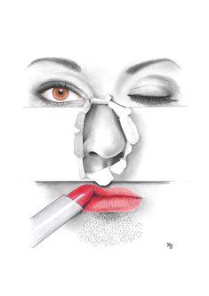 Bleistiftzeichnung_Gesicht Skurril 1 DIN A4 von Josef Hinterseer