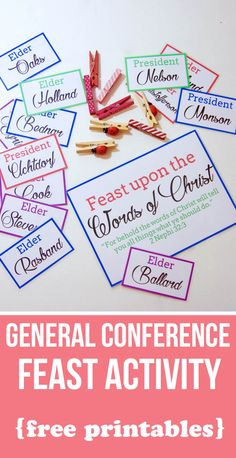Feast on the Words of Christ—General Conference Printable & Family Activity - Erziehung Fhe Lessons, Primary Lessons, Lds Primary, Primary Music, General Conference Activities For Kids, Family Activities, Summer Activities, The Words, Lds Conference