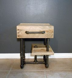 Hey, I found this really awesome Etsy listing at https://www.etsy.com/listing/167641333/pallet-and-pipes-nightstand-side-table