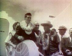 """Elvis arriving in Honolulu, Hawaii for his historic """"USS Arizona Memorial"""" benefit concert on March 25, 1961."""
