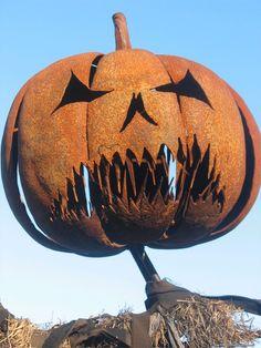 Pumpkin Head Scarecrow Sculpture