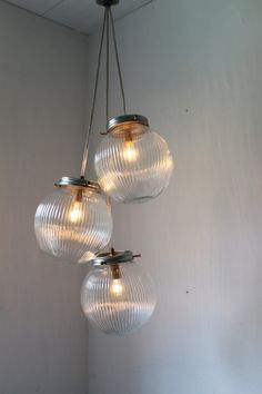 Sparkling Cluster Chandelier Lighting Fixture - 3 Round Ribbed Glass Holophane Globes  - Industrial UpCycled Swag Pendant BootsNGus Design on Etsy, £90.29