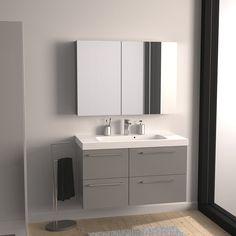 Meuble de salle de bains Remix gris galet n°3 106x48.5cm, 4 tiroirs