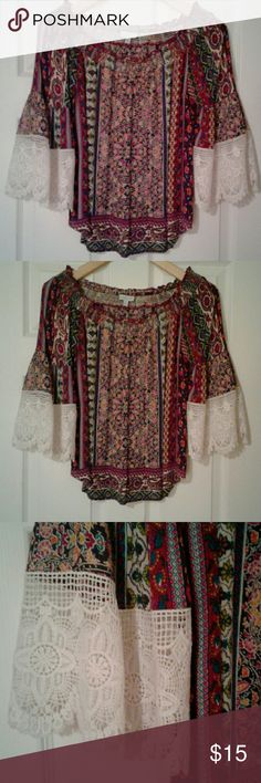 Boho Paisley Off Shoulders Top Brand is called Patrons of Peace. Off shoulder style in pasley/floral print. With white lace bell sleeves. Super cute with jeans. Brand New condition, never worn. Offers are welcome!!!I Patrons of Peace  Tops Blouses