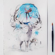 """""""Winter Sonata""""  Watercolour on Arches watercolour paper size 28x38cm 300gsm.  #watercolor #watercolour #art #artwork #elk #deer #winter #crystal #ski #painting by #jongkie  Inspired by Irish Elk   snowman and Crystal. What do you think? by jongkie"""