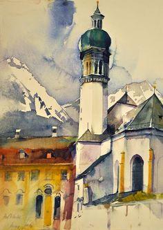 """Heinz Hofer """"Innsbruck - Hofkirche"""" Aquarell 42 x 30 cm"""