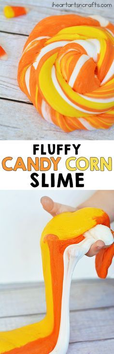 FLUFFY CANDY CORN SLIME made with @elmersproducts glue ...soo fun!! And perfect for Halloween! #AD