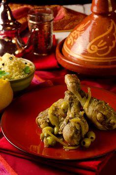Tagine z kurczaka, kiszonych cytryn i oliwek | Pobitegary