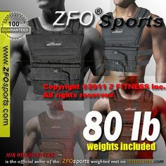 Weekly Sale) NEW! ZFO-80LBS Adjustable Weighted Vest (WEIGHTS INCLUDED.One size fits all.)