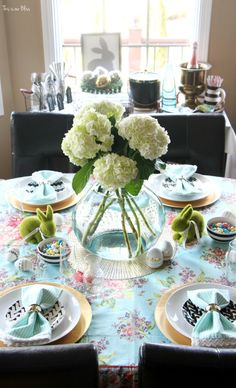 Spring tablescape | Easter table | fresh flowers & floral & striped table linens | This is our Bliss
