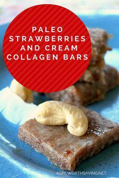 Paleo Strawberries and Cream Collagen Bars - Paleo Recipes, Gluten-free Recipes and Grain-free Recipes