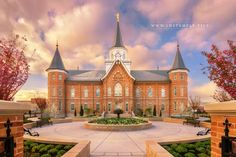 A wonderful sunrise at the gates of the Provo City Center Utah Temple.