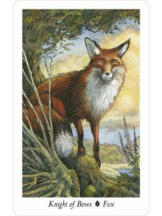 Wildwood Tarot: Knight of Bows (Wands) Wildwood Tarot, Tarot The Fool, Knight Of Wands, All Tarot Cards, Tarot Card Meanings, Cartomancy, Tarot Card Decks, Fox Art, Fantasy Art