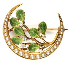 Krementz Mistletoe & Crescent Moon Brooch • www.georgianjewel...