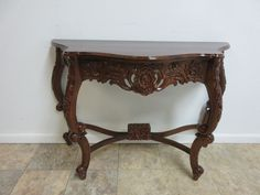 Antique Hand Carved Mahogany French Carved Hall Console Foyer Sofa Table