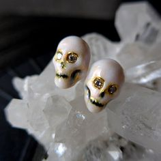 Memento Mori Skull Earrings with Diamond Eyes