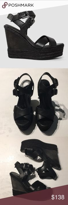 All Saints Black Leather Wedged Sandals - Size 37 Stylish black leather wedged sandals from All Saints in Size 37. Comfortable and unique at the same time! Excellent condition. Prefect for a night out or a casual day! All Saints Shoes