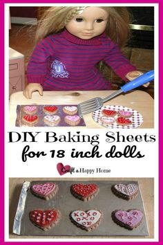 Learn how to make an American Girl doll sized baking sheet pan using just a scrap of balsa wood and aluminum foil. It's easy to make for your 18 inch doll kitchen! See this tutorial and more AG doll crafts here. Diy Ag Dolls, Ag Doll Crafts, Diy Doll Food, Kids Kitchen Accessories, Diy Accessories, Diy For Girls, Diy Crafts For Kids, Kids Diy, Kids Girls