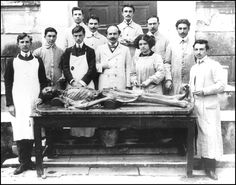 Evangelia Farmakidou (1890–1982): the first female Greek radiologist:  Lia Farmakidou as a medical student – the sole woman among male counterparts – at the National and Kapodistrian University Medical School's Morgue lab (1909) (courtesy from the collection of Professor G Antonakopoulos, Histology Laboratory, University of Thessalia Medical School, Larissa, Greece)