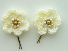 Two Cream Crochet Flower Hair Grips, Bobby Pins £5.00 #CRAFTfest