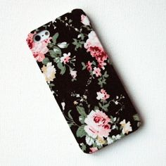 Pink Floral Pattern on Black Fabric iPhone 4/4s Case. $19.00, via Etsy.