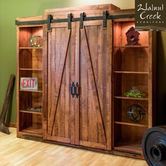 Walnut Creek Furniture barn door inspired entertainment center.
