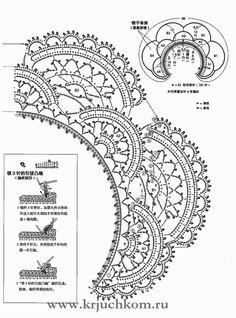 Ажурный вязаный воротничок крючком. Фото и схемы