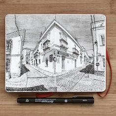 Farmacia en Medina-Sidonia (Provincia de Cádiz, Spain). ___ #notebook #illustration #drawing #sketch #lineart #dibujo #linedrawing #pendrawing #inkfeature #penonpaper #inkart #fisheye #perspective #arqsketch #moleskinesketchbook #sketch_art #iblackwork