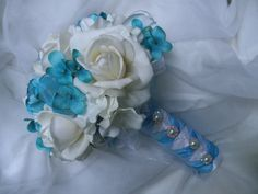 Absolutely perfect!! Turquoise White Bride's Bouquet REAL TOUCH Roses Handtied Beach Wedding Flowers.  Malibu Tiffany Blue Ivory Rhinestones on Etsy, $95.00