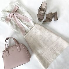 tie neck blouse, orchid heels, pink purse tweed skirt, work outfit, summer outfit, petite fashion blog - click the photo for outfit details!