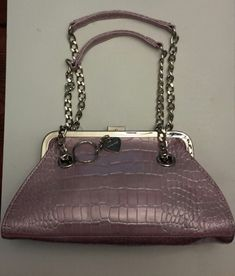 Lovely inside and out with two chain handles and a long extension handle included. Lipstick container as well attaches to bag. Lavender Purse, Beautiful Handbags, Clutch Purse, Shoulder Bag, Purses, Chain, Fashion, Cute Handbags, Handbags