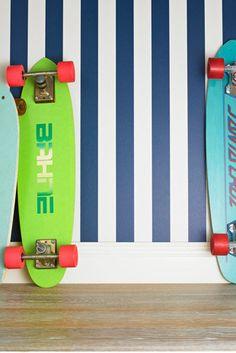 Catherine Martin Kids Wallpaper - Stripe in Marine Blue Playroom Wallpaper, Wallpaper Stickers, Kids Wallpaper, Fabric Wallpaper, Cool Kids Rooms, Kid Rooms, Handmade Wallpaper, Striped Wallpaper, Marine Blue
