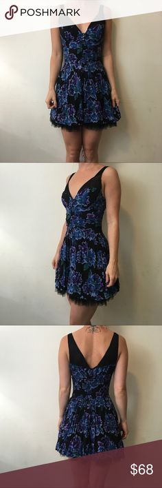 Free People Blue Printed Mesh Skater Dress Free People Dress cute and worn lightly once size 2. Free People Dresses