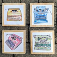 Ready to hang without risk of breaking, these whimsical watercolor prints are perfect for any room and audience. Mounted on finished wooden blocks, choose from four different vintage typewriter designs - or hang them all together for a cohesive look! Designs available: - Green Underwood Portable - Vintage Typewriters, Wooden Blocks, Watercolor And Ink, Note Cards, Whimsical, Greeting Cards, Gift Wrapping, Art Prints, Green
