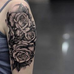 Black & grey roses tattooed by @niko.vaa  #phreshink #phreshtattoos #blackandgreytattoo #rosetattoo #realismtattoo