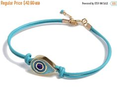14K Gold Filled leather Bracelet with Evil Eye inlaid with colorful enamel, 14K…