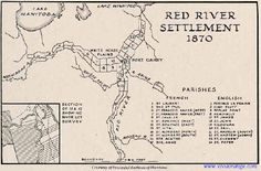 From Stories of my Ancestors: Red River Settlement Map Women In History, Family History, Fur Trade, The Settlers, Canadian History, World Globes, Teaching Social Studies, Canada, Le Far West
