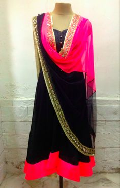 Punjabi Indian outfit black and pink suit