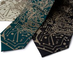 Short Circuit necktie. Were super excited to bring you a limited run of ties printed from real vintage circuit board patterns. No fake Photoshopped