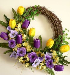 Tulip and Pansy Spring Wreath, Summer Wreath, Front Door Wreath, Grapevine Wreath, Spring Door Wreath Easter Wreaths, Holiday Wreaths, Spring Front Door Wreaths, Spring Wreaths, Outdoor Wreaths, Wreath Crafts, Wreath Ideas, Summer Wreath, Wreath Fall